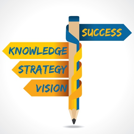 Business texts and success arrow in opposite of pencil Illustration
