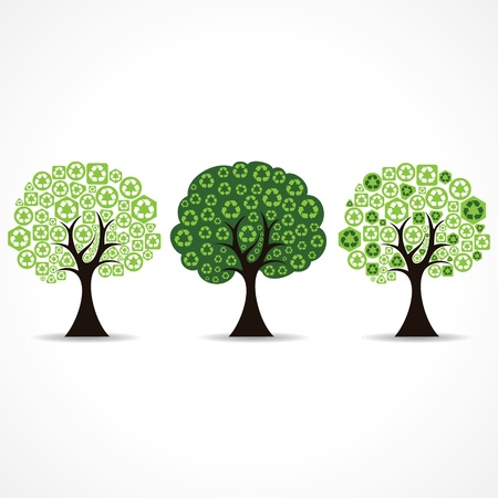 set of trees forming by green recycle icons Stock Vector - 20775850