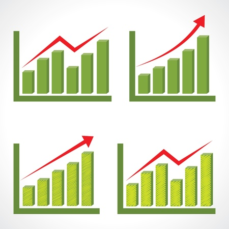 Set of different business graph with rising arrow Vector