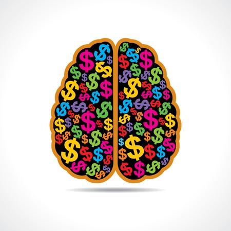 brain clipart: Conceptual idea  silhouette image of brain with dollar symbol  Illustration