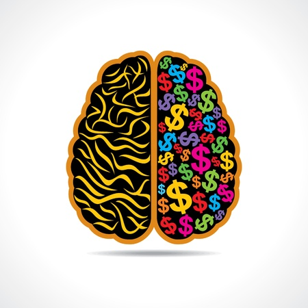 financial questions: Conceptual idea  silhouette image of brain with dollar symbol  Illustration