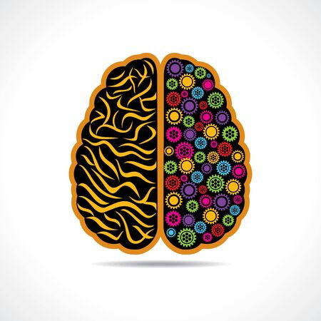 Conceptual idea  silhouette image of brain with gear Vector