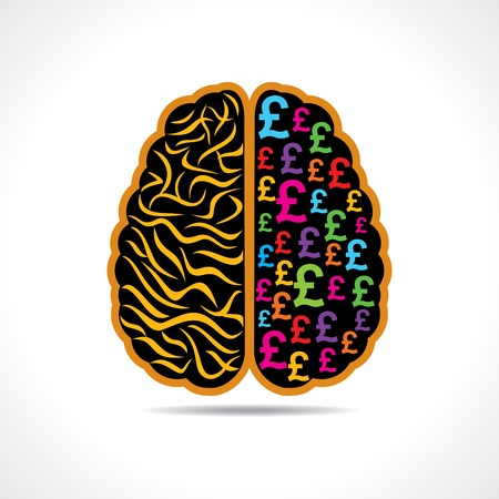 financial questions: Conceptual idea  silhouette image of brain with pound symbol  Illustration