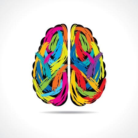 pensamiento creativo: Cerebro creativo con trazos de pintura