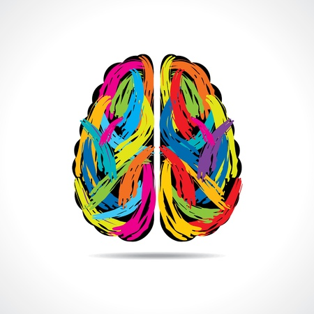 brain and thinking: Creative brain with paint strokes