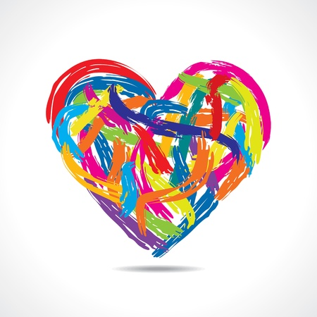 love concept, colorful heart with paint strokes