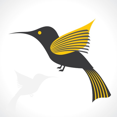 Grey and yellow bird icon vector Vector