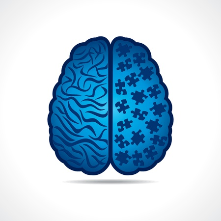 Conceptual idea silhouette image of brain with puzzle pieces Vector