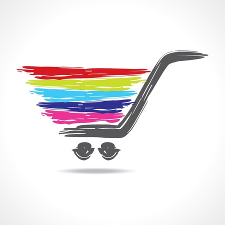 shopping cart: illustration of a paint shopping cart stock vector