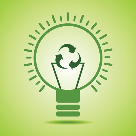 conservancy: Green recycle icon make filament of an eco bulb stock vector