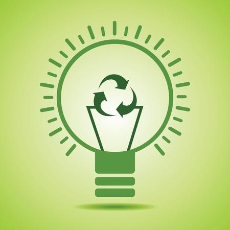 bombillo ahorrador: Icono verde de reciclaje hacen filamento de una bombilla stock vector eco Vectores