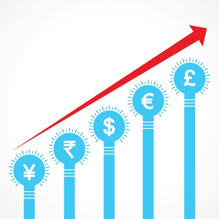 rising graph of currency bars made of bulbs stock vector Vector