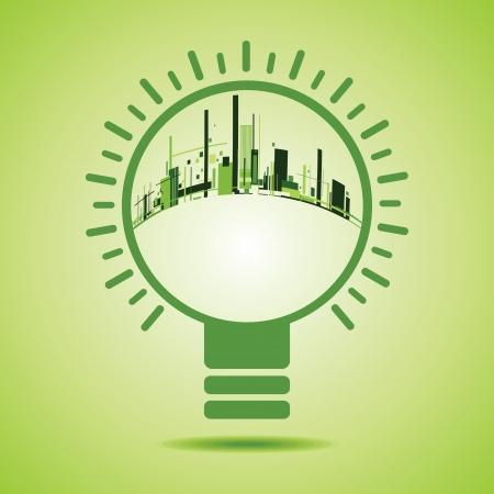 Eco City inside of a green light bulb stock vector Vector