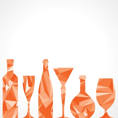 Abstract triangle wine bottles and glass,vector illustration Vector
