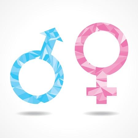 Abstracte driehoek mannelijk en vrouwelijk symbool, vector illustratie
