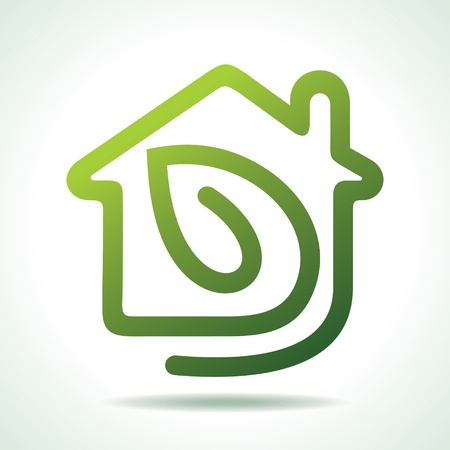 green energy: home icon with leaf-vector illustration
