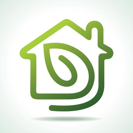 eficiencia energética: icono de inicio con la ilustración de la hoja-vector