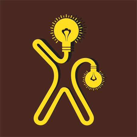 man icon with bulb face and hand-Vector Illustration  Illustration