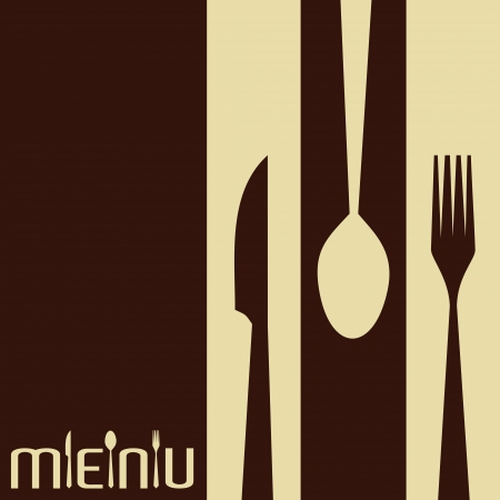 kitchen tool: Template for menu card with cutlery-Vector Illustration  Illustration