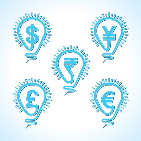 Bulb with different  currency concept -vector illustration Vector