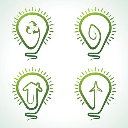 electric car: Bulb with eco concept -vector illustration
