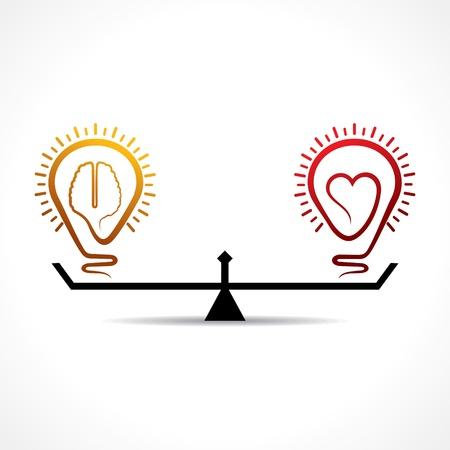 심장 및 두뇌 평등 개념 벡터