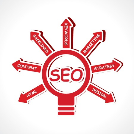 keywords link: SEO concept-vector illustration Illustration