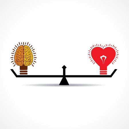 choice concept: Brain and heart is equal weight age stock vector  Illustration