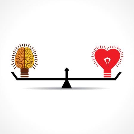 balanza: Cerebro y el coraz�n es la edad peso igual stock vector Vectores