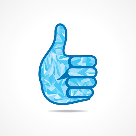 feedback link: Abstract thumbs -up or like symbol with triangles-vector illustration  Illustration