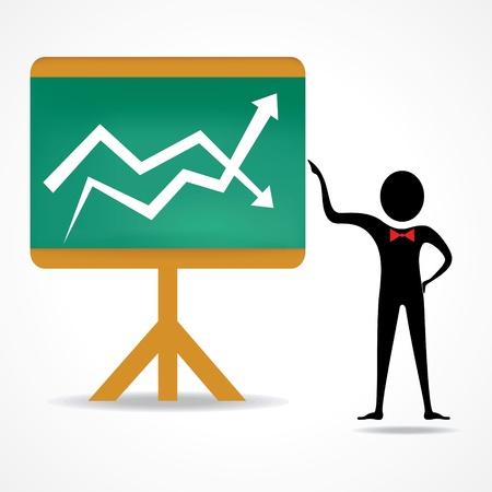 sentarse: hombre con arriba y abajo de negocio ilustración gráfica-vector