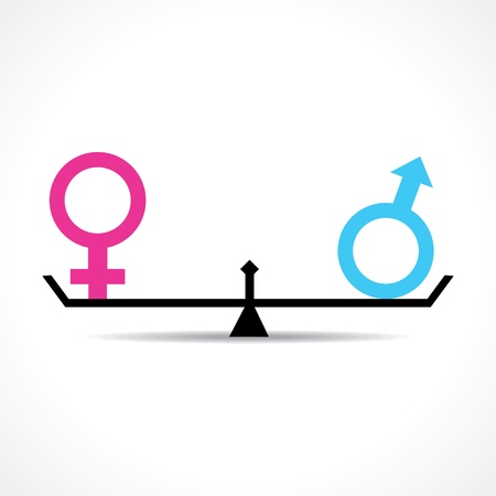 balanza en equilibrio: Concepto de la igualdad de hombres y mujeres stock vector