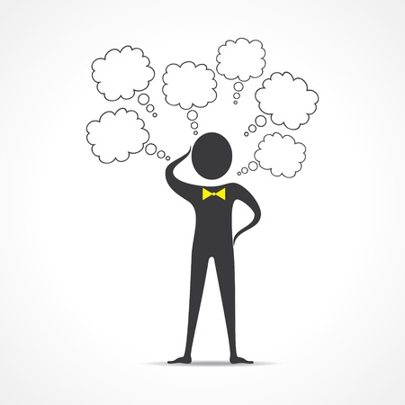 deeply: Businessman thinks deeply about something-vector illustration
