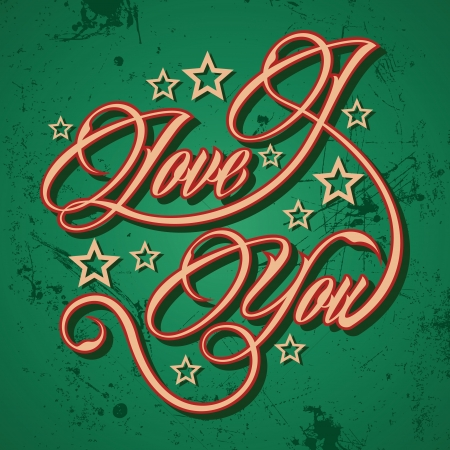 cuttings: Retro I Love You greeting - vector illustration