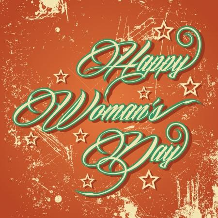 women s day: Retro typographic design for Happy Women s Day - vector illustration Illustration