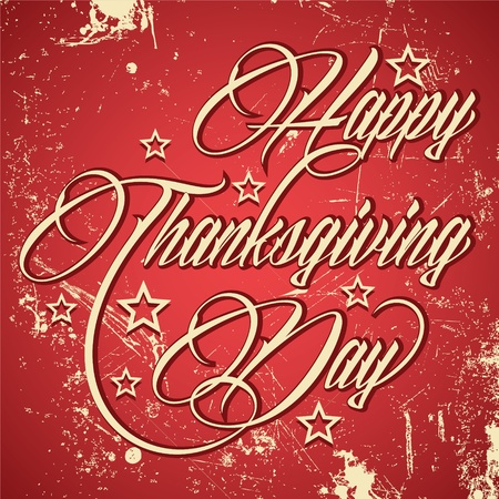 Retro typographic design for Happy Thanksgiving Day - vector illustration  Vector