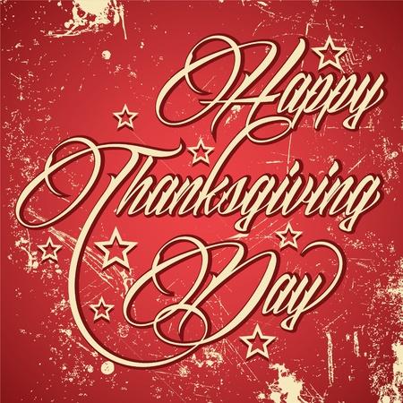 cursive: Retro typographic design for Happy Thanksgiving Day - vector illustration