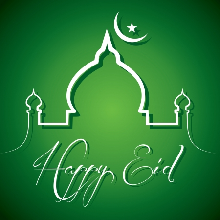 mosques: Creative calligraphy of text happy eid - vector illustration  Illustration
