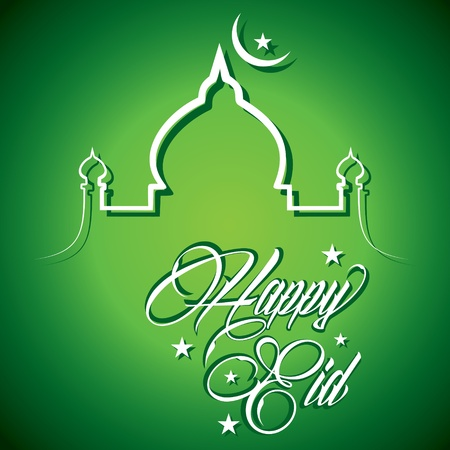 Creative calligraphy of text happy eid - vector illustration  Illustration