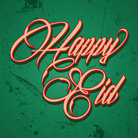 Retro calligraphy of text happy eid - vector illustration  Vector