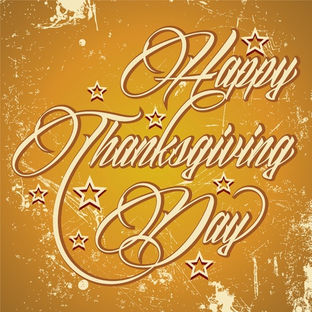 thanksgiving art: Creative calligraphy of text Happy Thanksgiving Day - vector illustration Illustration