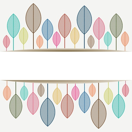 Colored autumn leaves with place for text  Copy space - Vector illustration Vector