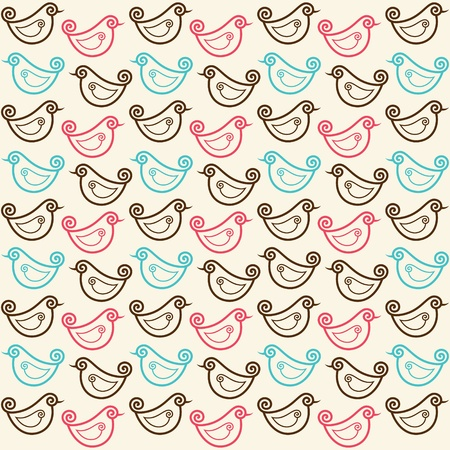 seamless pattern with funny birds stock vector Vector