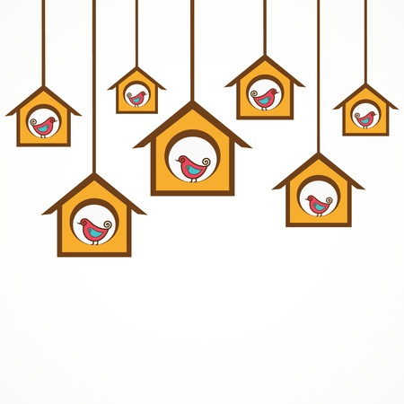 Collection of funny birds in feeders stock vector Vector