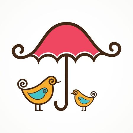 yellow umbrella: Couple of cute vector birds under pink umbrella  Illustration