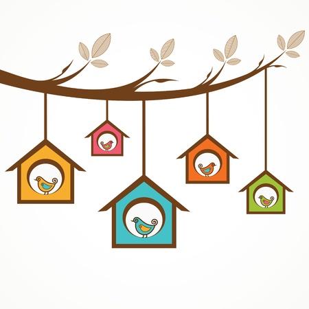 maison oiseau: Collection de dr�les d'oiseaux dans les mangeoires suspendu par une branche