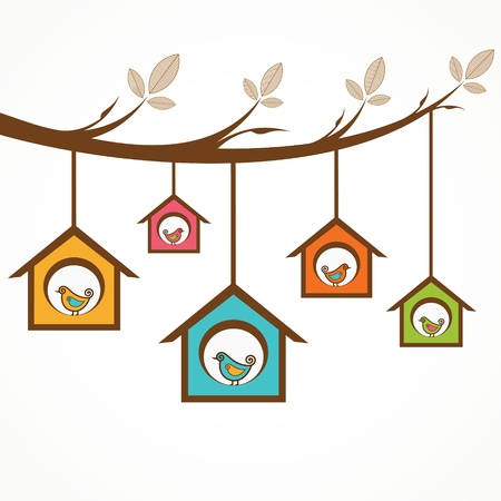 birdhouse: Collection of funny birds in feeders hanging by a branch