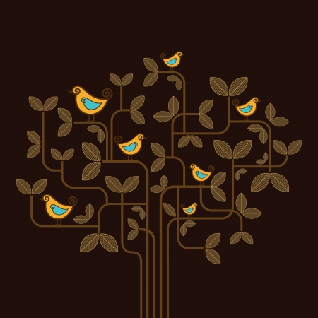 cute vector birds on a tree   Vector