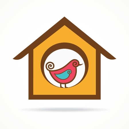 funny bird in feeder   Vector
