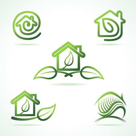 rural community: Set of eco home icons stock vector Illustration